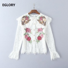 Lace Women Shirt New Fashion Summer Blouses 2017 Ladies Cross Stitch Embroidery Rose Floral Long Sleeve White Shirt Lace Elegant