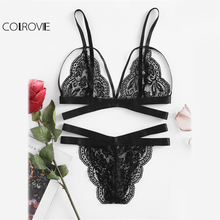COLROVIE Scallop Edge Strappy Lingerie Set Sexy Underwear Women Vintage Lace Bra & Panty Set 2017 Semi Sheer Slim Lingerie Set(China)