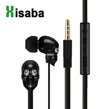 Xisaba Skull Stereo Earbud Earphones with Microphone rock zircon Gold earpods For PC iphone 6 Xiaomi MP3/4 Smartphone 3.5mm(China)