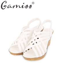 Gamiss Hot Elegant Sandals For Woman Women's High Platforms Cut Outs Pattern Checkered Belt Gladiator Sandals Fish Mouth head
