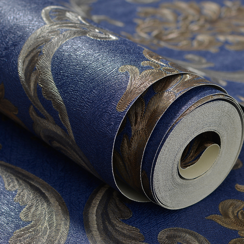 10M 3D Stereoscopic Blue Damascus Wallpaper Roll for Bedroom Living Room European Home Decor Thicken Vinyl Waterproof Wall Paper<br>
