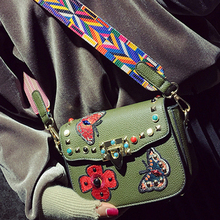2017 rivet crossbody bag brand butterfly embroidered bag luxury shoulder strap bags female turquoise name bags leather handbag(China)
