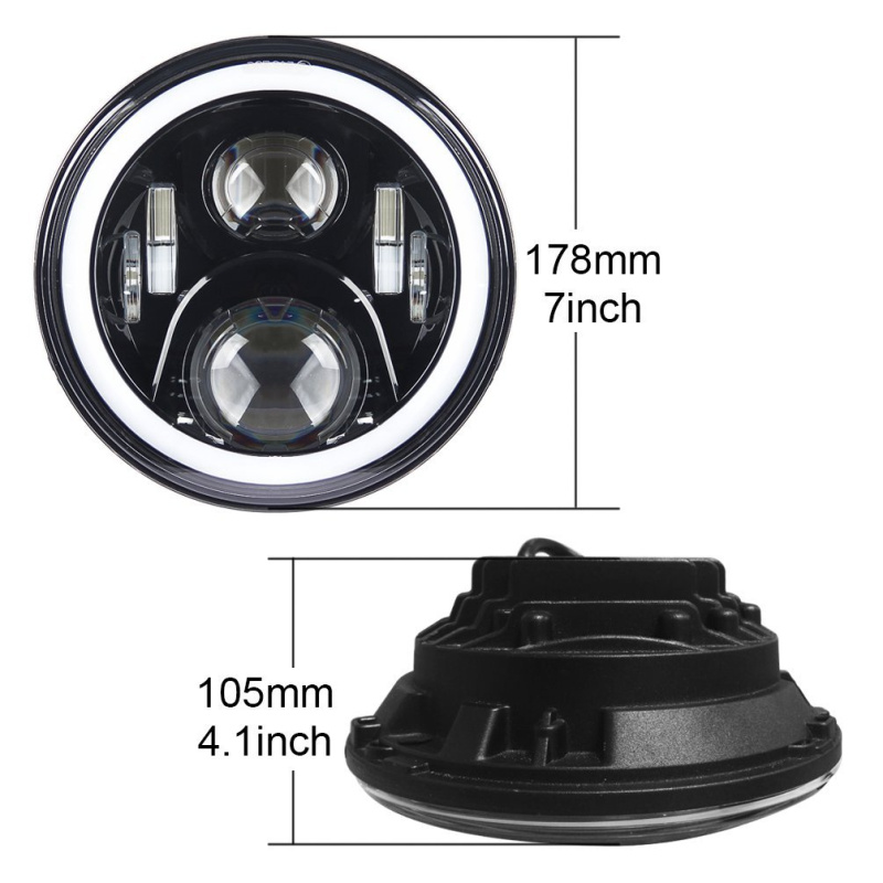 FADUIES 7 60W LED Headlight RGB Halo Angel Eye With Bluetooth Remote For 2007~2016 Jeep Wrangler JK LJ CJ Hummer H1 H2 (13)