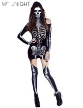 MOONIGHT Skeleton Day of The Dead Costume Women's Sexy Sugar Skull Dia Flower Fairy Halloween ghost vampire bride Fancy Dress