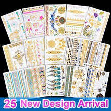 Good pattern Metallic Gold Tattoo Silver Waterproof Temporary tattoos Stickers on the body women Flash Tattoo Stickers men(China)