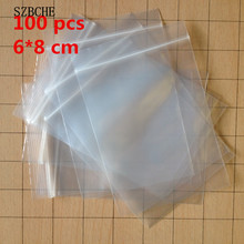 100 pcs/LOT Small 6 X 8 cm Ziplock zip lock poly bags clear plastic bags for food storage bags thick transparent bag