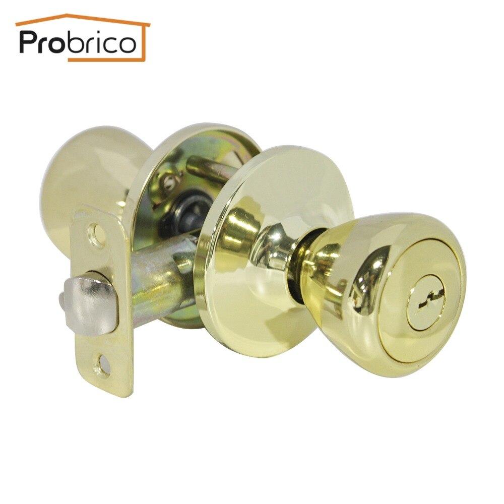 Probrico Door Lock With Key Stainless Steel Safe Lock Security Gold Door Handles Door Knob Entrance Locker DL576PBET<br><br>Aliexpress