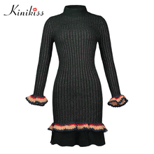 Kinikiss women knitted sweater dress 11.11 shopping festival patchwork knee-length ruffles sexy mermaid female bodycon dresses(China)