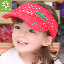 Kocotree Baby Girls Big Bow Cartoon Caps Kids Girl Cotton Sun Hats Girls Caps Baseball Hats Summer Girl Visor Hats & Caps(China)