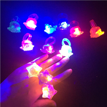 36pcs/lot Flashing Light Up Glowing LED Finger Star With Love Ring Christmas New Year Gifts Toys for Children(China)