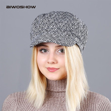 AIWOSHOW 2017 New Octagonal Hats Octagon Herringbone Newsboy Cap For Women Vintage Cotton Beret Casual Newsboy Hats Cabbie Cap(China)