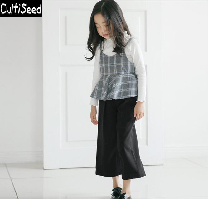 2017 Spring Autumn Girls 3PCS Sets Clothes Children T-shirt+Vest+Wide Leg Pants Plaid Sets Kids Party Suits<br>