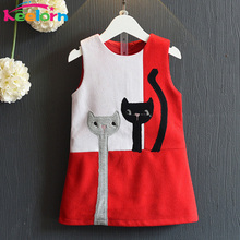 Keelorn Girls Dress 2017 Fashion Style Kids Cartoon Cats Dress Sleeveless Wool Outwears O-neck Embroidery Children Clothing 3-7Y