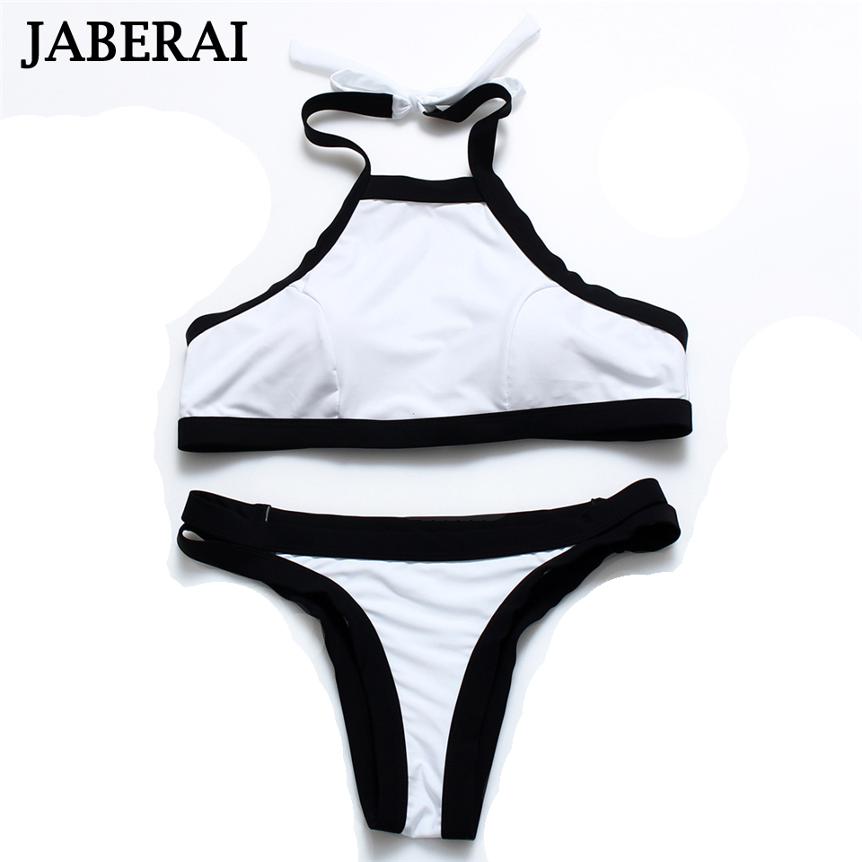 JABERAI High Neck Swimwear 2017 Women Crop Top Swimsuit Halter Push Up Bikini Set Thong Bottom Bathing Wear White Beach Wear 15<br><br>Aliexpress