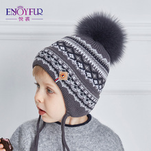 ENJOYFUR Cotton Caps Children Geometric Patchwork Knitted Winter Hats Real Fox Fur Pompom Boy Ears Hat Kids Thick Warm Beanies(China)