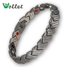 Wollet Jewelry Healing Negative Ion Germanium Infrared Magnetic Stainless Steel Magnetic Bracelet Bangle for Men