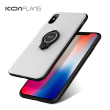 ICONFLANG phone case for iphone x protective phone case support wireless charging luxury brand case cover with ring(China)