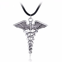 Movie Jewelry Percy Jackson Angle Wings Statement Necklace Magic Wand Caduceus Pendant Necklace Christmas Gift 12pcs/lot