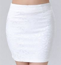 large size OL skirt business women office lady mini pencil skirt sexy floral lace skirt high waist black white short  with zip