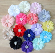 "2.8"" DIY Chiffon Flower Beaded Chiffon Flower 16 colors For Headbands Hair Accesssories"
