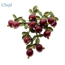 CSxjd vintage brooch jewelry Green that bake Paint Cranberry Natural Pearls brooch scarves buckle Accessories