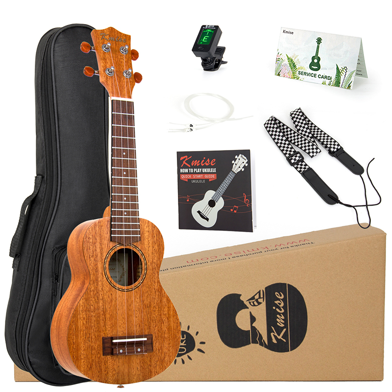Kmise Soprano Ukulele Mahogany Ukelele Uke 21 inch 15 Fret with Gig Bag Tuner Strap String Instruction Booklet for Beginner<br>