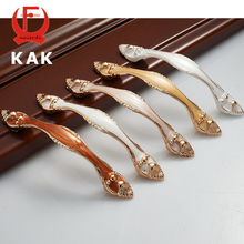 KAK Aluminium Alloy Amber Wardrobe Door Handles 96MM Drawer Cupboard Door Handles Pull Knobs Pastoral Furniture Handle