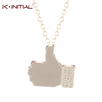 1Pcs New Design Fashion Facebook Thumb up Necklaces Lovely Gold Sliver Plated Finger Pendant Necklace Women