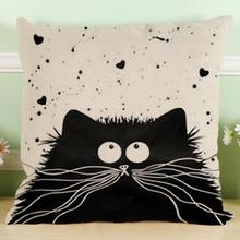 Square Cartoon images Linen Cotton Blend Cushion Cover Home Office   Cat Pillow Case Decorative Pillowcases housse de coussin