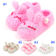 Crochet Shoes Girls Rabbit Shoes Knitting Pink and Deep pink Shoes Handmade First walkers 10 pairs/lot XZ022