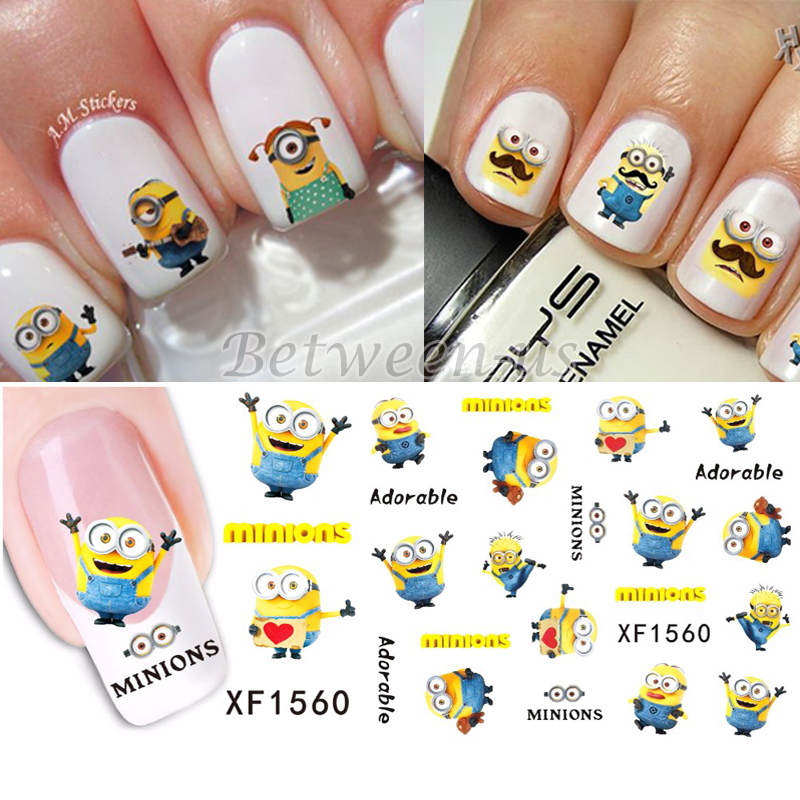 Hot Sale Water Transfer Nail Art Stickers Nail Art Water Decals Small Size DIY Cute Cartoon Yellow Minions Design XF1560<br><br>Aliexpress