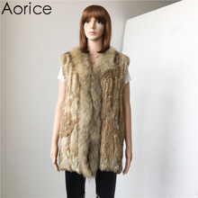 Clearance V705 Genuine  Rabbit Raccoon Fur vest   Knitted Women warm real fur jactets