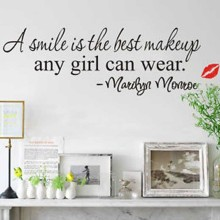 New Design A Smile Is The Best Makeup Wall Sticker Home Decor Art Mural Decals Wall Stickers Decoration  Size: 20 * 60cm 0748