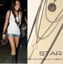 Hot fashion women Punk character chain long section of multilayer Key Coin mashup necklaces wholesale