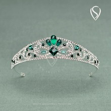 SWEETV Royal Green Crystal Princess Crown Rhinestone Wedding Tiara Headpiece Women Hair Accessories for Bride Pageant Party Prom