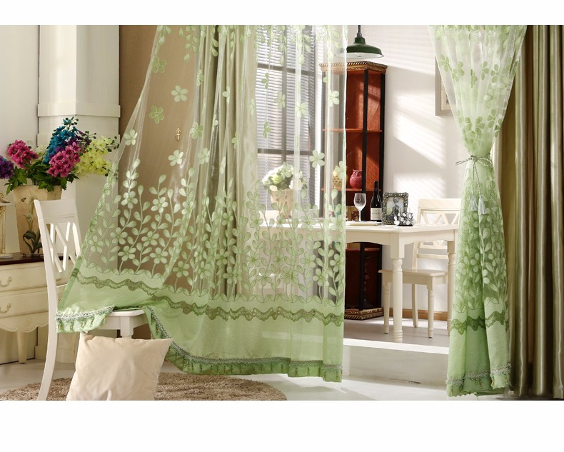 European Royal Curtains 11 Colors Embroidered Voile Curtains for Living Room Drapes Crystal Beaded Curtains Sheer (71)