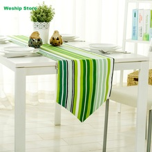 Fashion Home Double-deck cotton table runner Green stripe European rural Style Table flag and Placemat
