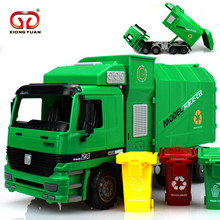 Big Size Side Loading Garbage transfer car tricolor green trash traffic sanitation Truck Can Be Lifted With 3 Rubbish Bin Toy