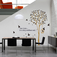 & Big Tree fly birds home decal creative vinyl wall sticker removable waterproof wall decals wallpaper living room bedroom decor