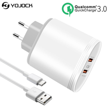 Buy YOJOCK Universal USB Charger Quick Charge 3.0 Dual USB Port Fast Charger 36W Travel Charger Huawei V10 Xiaomi Mi6 iPhone 8 X for $17.99 in AliExpress store