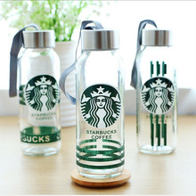 2017 High quality GLASS Water Bottles lead-free glass cup, stainless steel & food grade plastic cap, 300ml Portable coffee cup