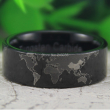 USA Canada Hot Selling 8MM Shiny Black Pipe Unique World Map Design Men's Lord Tungsten Wedding Ring - Top Fine Jewelry ( and retail jewelry store store)