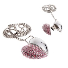 Free Shipping Silver 4GB-64GB Crystal Diamond Heart Shape USB 2.0 Flash Memory Drive Pen Drive