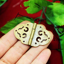 Wholesale Brass Flower Hollow Hinge Decor Door Hinges Wooden Gift Jewelry Box Hinge Fittings for Furniture+Screws,27*43mm,40Pcs(China)