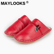 Ladies leather luxury indoor / outdoor winter warm men's leather slippers slippers tb012(China)
