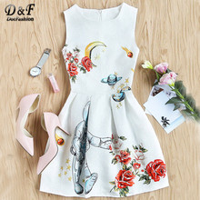 Dotfashion A Line Summer Party Dress Women White Floral Zip Back Elegant Tank Dresses 2017 Fashion Draped Cute Slim Mini Dress(China)
