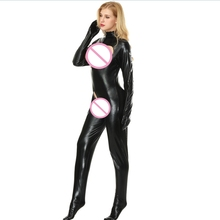 Buy Plus Size Hot Sexy Open Bra Latex Catsuit Crotchless Open Crotch Erotic Fetish Bodysuit Faux PVC Leather Sexy Cosplay Costume