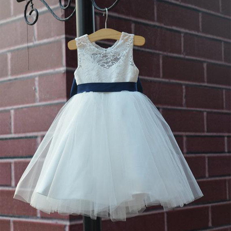 2016 Honey Qiao White Lace Flower Girls Dresses With Sash Bow Tea Length Tulle A Line Cheap Jewel Girls Pageant Gowns(China (Mainland))