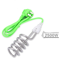 Kitchen Ware Green Cable 250V 10A 2500W Immersion Heater Heating Element 3 Pin Plug Stainless Steel Tube(China)