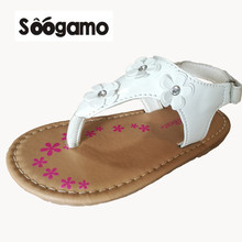2017 New Little kids sandals  Baby girls summer Slippers footwear children sandals shoes Flowers  flat with  shoes
